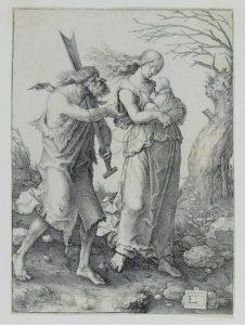 Adán y Eva después de la expulsión del paraíso. Lucas van Leyden. 1510.
