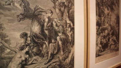 Vista de la exposición Rubens, Van Dyck y la Edad de Oro del grabado flamenco. 2015. Biblioteca Nacional de España. Foto: Luis Martín.