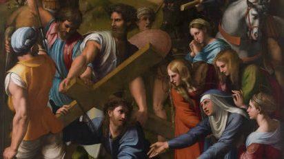 Caída en el camino del Calvario, «el pasmo de Sicilia». Rafael. Hacia 1517. En 1813 las tropas de Napoleón lo llevaron a París, de donde se devolvió a España en 1822, tras efectuar el traslado de la capa pictórica de la tabla original al actual lienzo.