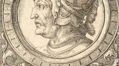 Ornamento con cabeza de guerrero (detalle). Lucas Van Leyden. 1527. Colección Mariano Moret.