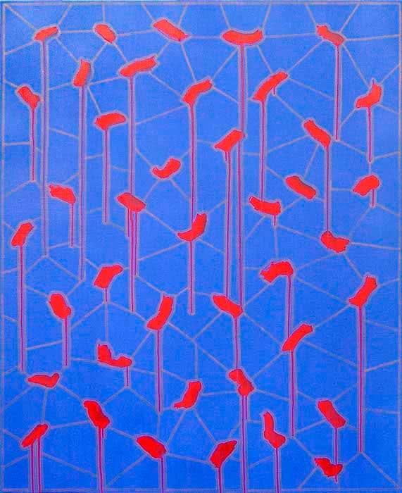 Alfredo Alcaín. Pinceladas rojas sobre azul. 2014. Galería Fernández-Braso.