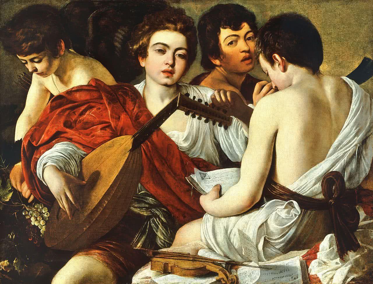 Caravaggio. Los músicos c. 1594-95. Óleo sobre lienzo. 92,1 x 118,4 cm. The Metropolitan Museum, New York, Rogers Fund.