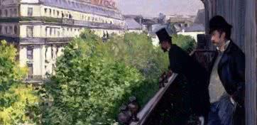Gustave Caillebotte. Un balcón, bulevar Haussmann 1880. Óleo sobre lienzo. Colección privada. © Paris, Comité Caillebotte.
