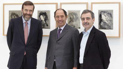 Guillermo de la Dehesa, presidente del Real Patronato del Museo Reina Sofía; Claude Ruiz-Picasso y Manuel Borja-Villel, director del Museo Reina Sofía.