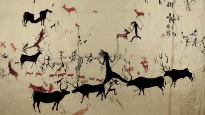 Calco realizado en 1911 por Juan Cabré Aguiló a partir de las pinturas rupestres de la cueva de La Vieja, Alpera, Albacete.