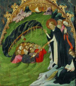 Compartiment del retaule major del convent de Santa Clara de Vic: sant Domènec salva uns nàufrags. Lluís Borrassà.
