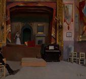 Ricard Urgell. Barcelona 1874–1924. Audició al teatre Gayarre, c. 1905-1910. Oli sobre tela. 51,5 x 62 cm.