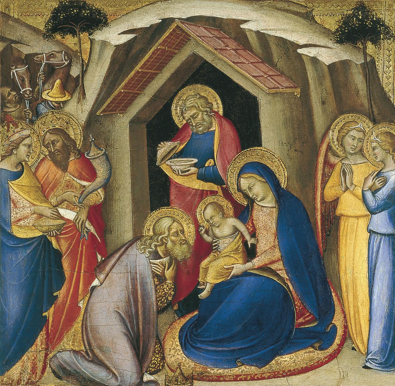 Luca di Tommè. La Adoración de los Reyes. c. 1360-1365. Temple y oro sobre tabla. 41 x 42 cm. Museo Thyssen-Bornemisza, Madrid.