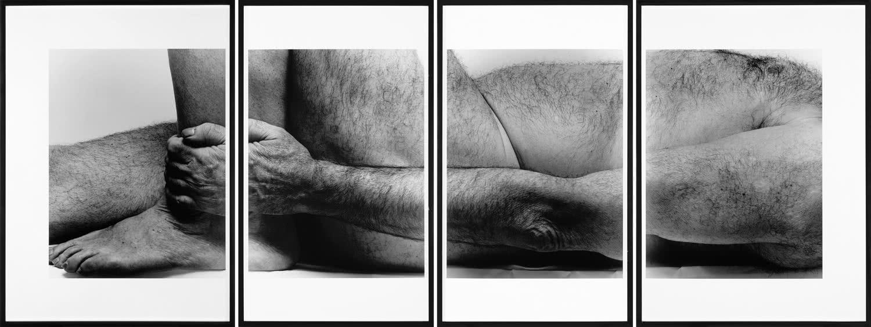 John Coplans, Self Portrait, Lying Figure, Holding Leg —Four Panels—, 1990. Gelatina de plata sobre papel. Colección Fundación Telefónica.