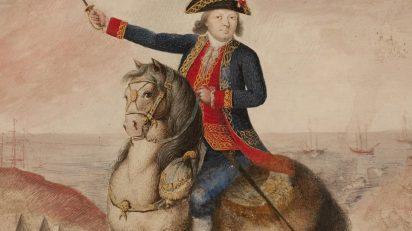 Retrato del mariscal Bernardo de Galvez. 1781 ca. Agua sobre papel.
