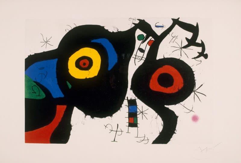 Joan MiróI due amici, 1969. Acquaforte, acquatinta e carburo disilicio, cm 71,5 x 106,5. Barcellona, Fundació Joan Miró. © Successió Miró by SIAE 2015.