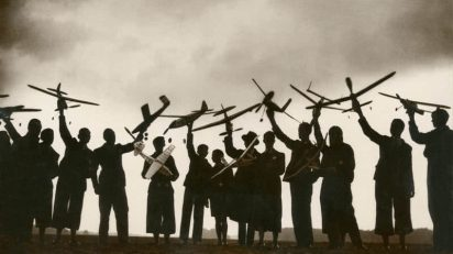 Anónimo. Reunión de modelistas aéreos, fotografía de prensa. Ca. 1930.