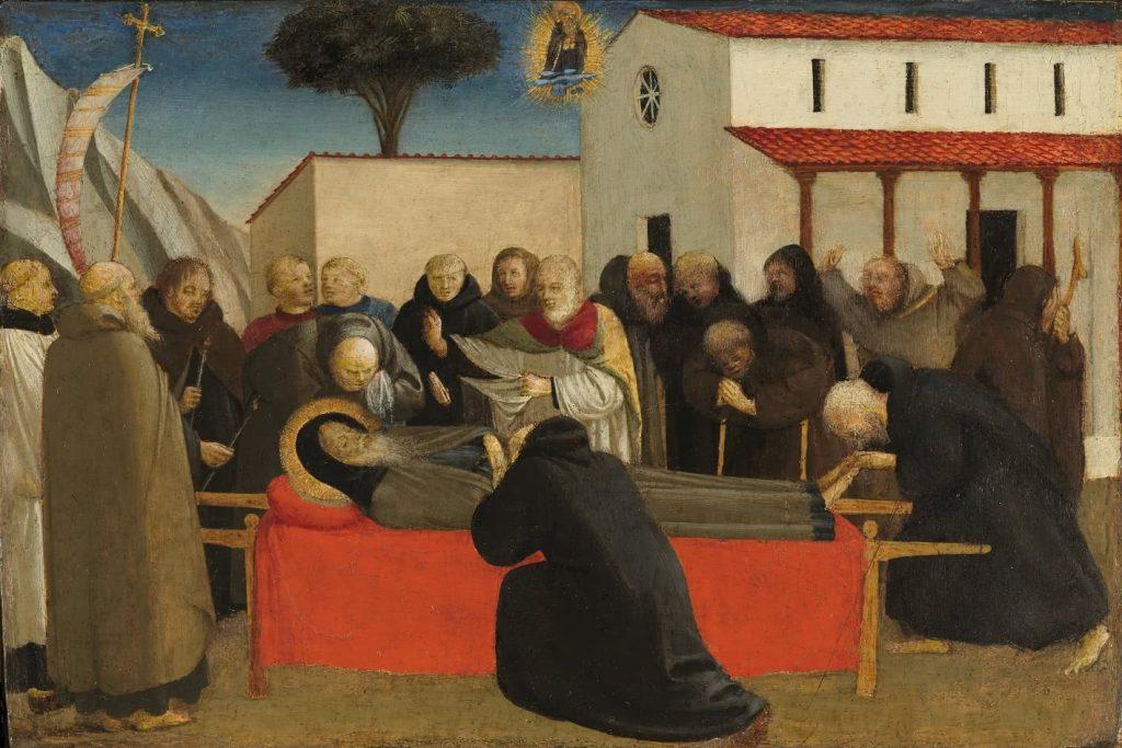 Guido di Pietro, llamado Fra Angélico (Mugello, 1390-Roma, 1455) Funeral de San Antonio abad, c. 1426-30. Témpera sobre madera de chopo, 29,2 x 19,5 cm. (Donación de don Carlos Fitz-Stuart y Martínez de Irujo, XIV duque de Alba de Tormes, al Museo del Prado).