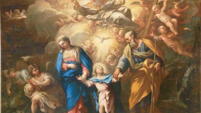 La Trinidad en la Tierra, hacia 1692-1702, de Luca Giordano (Nápoles, 1634 – 1705). Óleo sobre lienzo, 147'5 x 204 cm. Depósito de la Colección Pérez Simón.