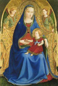 Guido di Pietro, llamado Fra Angélico. Virgen con el Niño y dos ángeles o Madonna de la granada, 1426.