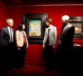 """Lluís Peñuelas, secretario general de la Fundació Dalí, Elisa Durán, directora general adjunta de la Fundació """"La Caixa"""", Montse Aguer, directora de los Museos Dalí, e Ignasi Miró, director del Área de Cultura de la Fundació """"La Caixa""""."""