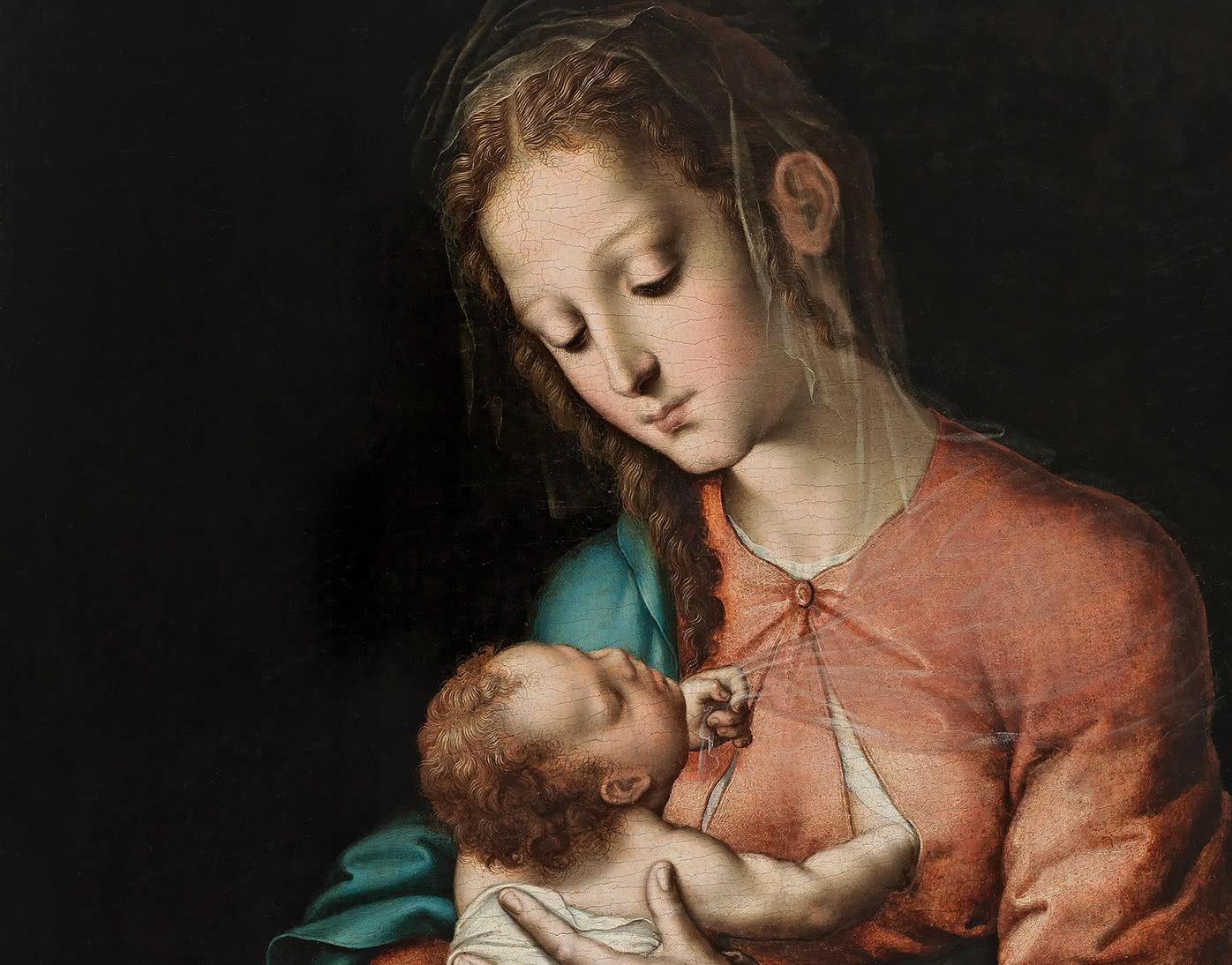 Luis de Morales. La Virgen de la leche (detalle), 1565.