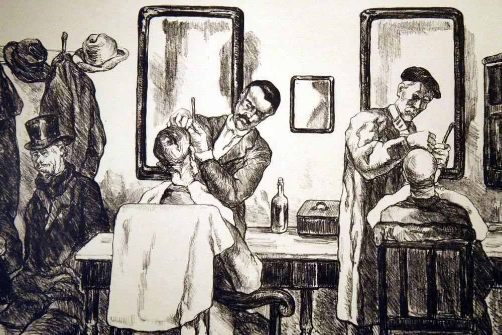 Barbería del pueblo, ca. 1935 © José Gutiérrez Solana. VEGAP, Madrid.