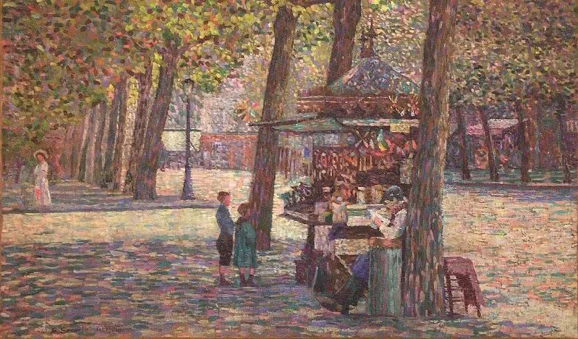 Gino Severini. Le marchand d'oublies [El vendedor de barquillos], 1909.