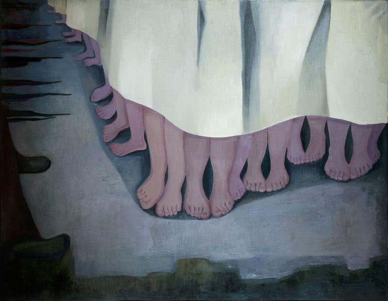 María Cruz Sarvisé. Los niños de Kiryat, Shemona y Muheibid, 1974. Óleo sobre lienzo, 114 x 145.5 cm.