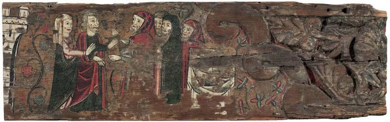 Anónimo. Ofrenda de San Joaquín y santa Anna en el templo. C. 1300. Depósito de la Generalitat de Catalunya, donación Gallardo, 2015. Museu Nacional d'Art de Catalunya.