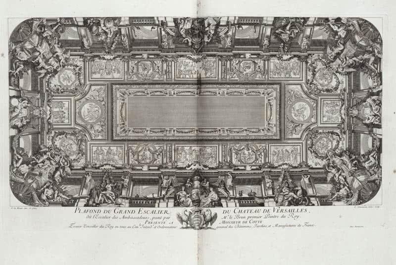 Charles Simonneau, Techo de la Gran Escalera de Versalles. Aguafuerte y buril. 38,7 x 70,5 cm. Tiraje de la calcografía de la plancha de cobre. Photo © RMN-Grand Palais (musée du Louvre).