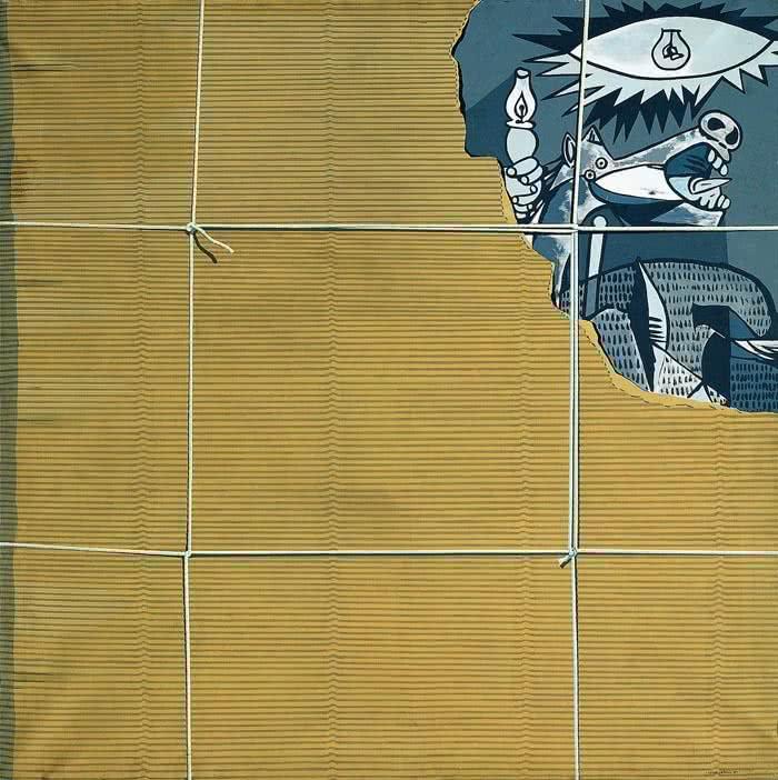 """Equipo Crónica. El embalaje, 1969. Acrílico sobre tela. Colección """"la Caixa"""" de Arte Contemporáneo."""