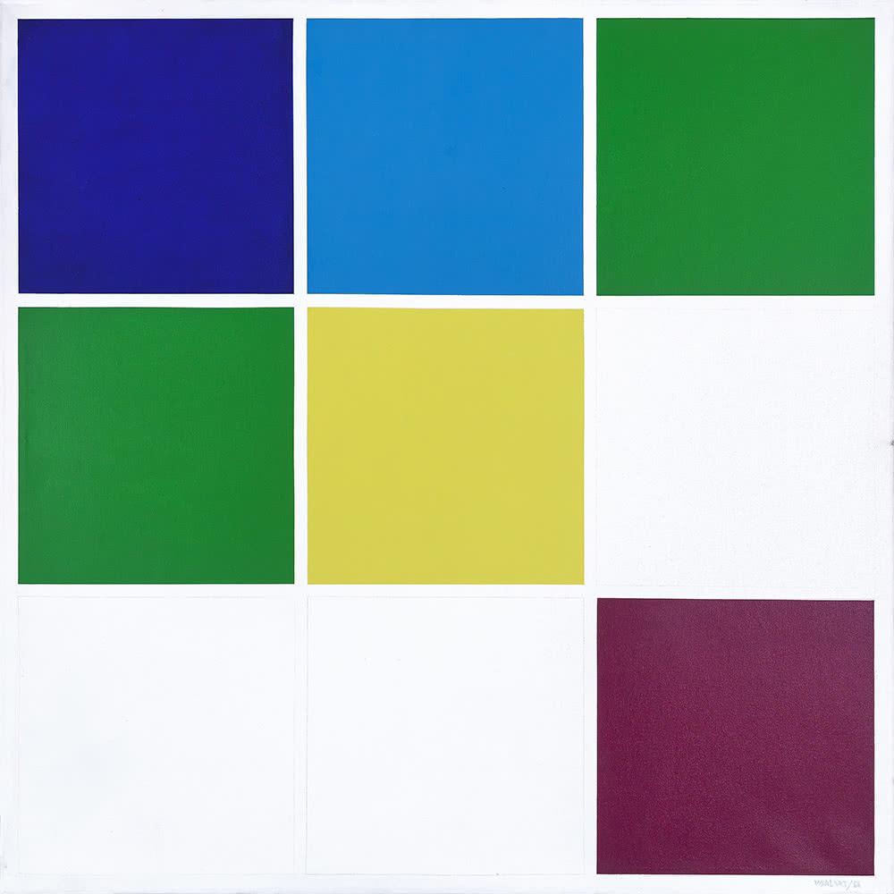 Waldo Balart. Módulo 3x3, 2.3.4.4.5.8 del desarrollo cromático 2.3.4.5.8, 1988.