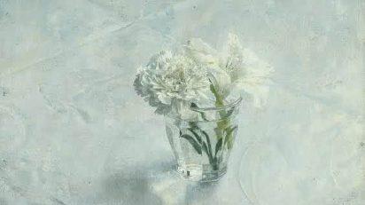 Antonio López García. Vaso con flores y pared (detalle). 1965.
