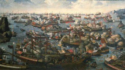 Batalla de Lepanto. De autor desconocido - National Maritime Museum.