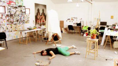 Artista achicharrado en Espacio Oculto Madrid. Verano de 2015.