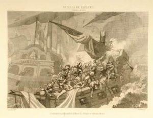 Combate de Lepanto. Cervantes peleando en la galera Marquesa.