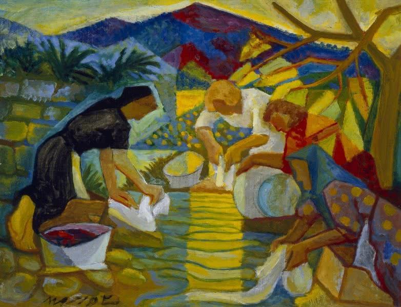 Carlos Maside. Lavandeiras, ca. 1956. Óleo sobre lenzo. Colección Legado Carlos Maside.
