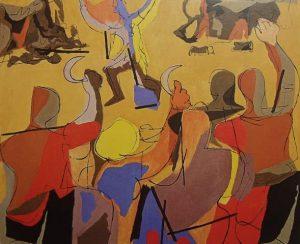 Luis Seoane. O meco, 1963. Óleo sobre lenzo. Colección Museo Carlos Maside.