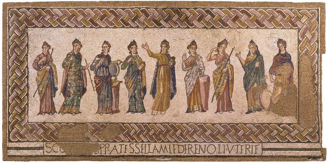 Mosaico de las Musas (s. IV). Museu Nacional de Arqueologia. Lisboa.