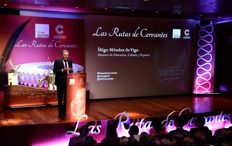 El ministro de Educación, Cultura y Deporte, Íñigo Méndez de Vigo, en la presentación de 'Las Rutas de Cervantes'.