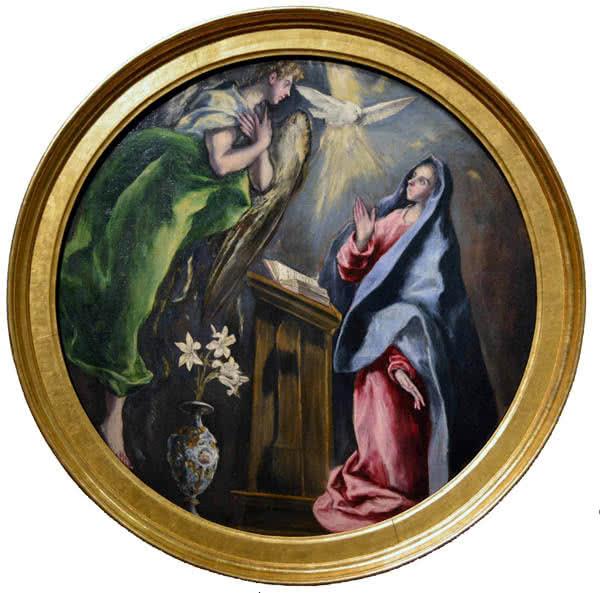 La Anunciacion. Año 1603-1605. Óleo sobre lienzo. Medidas 128 cm de diámetro