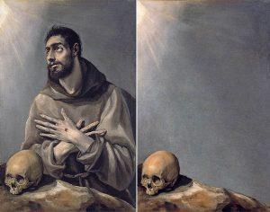"""""""San Francisco en éxtasis"""" de El Greco (izq). 1577 - 1580. Óleo sobre lienzo. Museo Lázaro Galdiano """"Vánitas"""" de José Manuel Ballester (der). 2015 - 2016. Impresión Digital sobre tela   Digital Print on Canvas. 89 X 57 cm.   35,04 X 22,44 inch."""