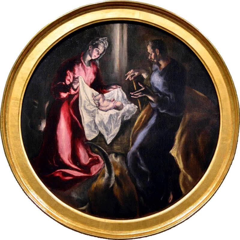 la Natividad. Año 1603-1605. Óleo sobre lienzo. Medidas 128 cm de diámetro