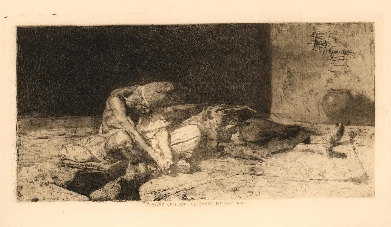 Mariano Fortuny Marsal. Árabe velando el cuerpo de su amigo.
