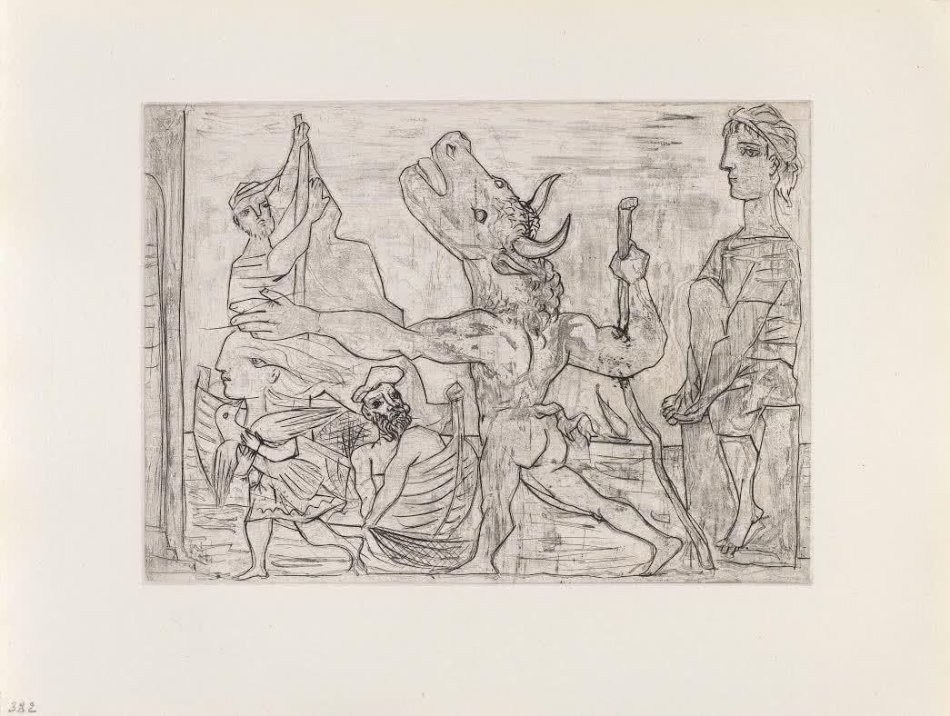 Pablo Picasso. <em>Minotauro ciego guiado por niña, III</em>. 1934. Colecciones Fundación MAPFRE. © Sucesión Pablo Picasso. VEGAP. Madrid, 2016.