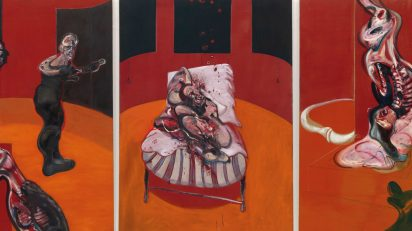 Francis Bacon. 'Tres estudios para una crucifixión (Three Studies for a Crucifixion)', marzo, 1962. Óleo con arena sobre lienzo, tres paneles. 198,1 x 144,8 cm cada uno. Solomon R. Guggenheim Museum, Nueva York, 64.1700. © The Estate of Francis Bacon. All rights reserved. DACS/VEGAP. Bilbao, 2015.