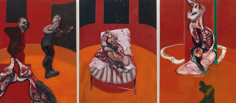 Francis Bacon. 'Tres estudios para una crucifixión (Three Studies for a Crucifixion)', marzo, 1962. Óleo con arena sobre lienzo, tres paneles. 198,1 x 144,8 cm cada uno. Solomon R. Guggenheim Museum, Nueva York, 64.1700. © The Estate of Francis Bacon. All rights reserved. DACS/VEGAP. Bilbao, 2015.