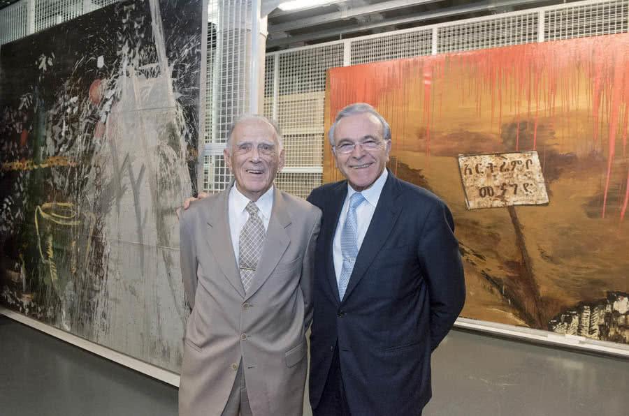 """José Vilarasau, presidente de Honor de """"la Caixa"""", e Isidro Faine, presidente de la Fundación Bancaria """"la Caixa""""."""