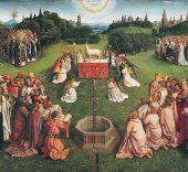 Hubert y Jan van Eyck. Políptico de La adoración del cordero místico (detalle). 1432.