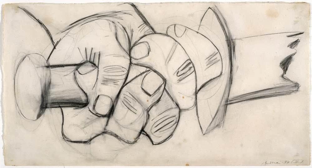"""Pablo Picasso. Mano con espada rota. Dibujo preparatorio para """"Guernica"""", 1937. Museo Nacional Centro de Arte Reina Sofía, Madrid."""