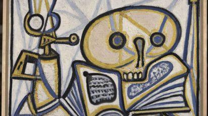 Pablo Picasso, Ceràmica Gazelle de for decorada amb un bust d'home amb jersei de ratlles , 1950. Paris, Musée Picasso. (c) RMN-Grand Palais.