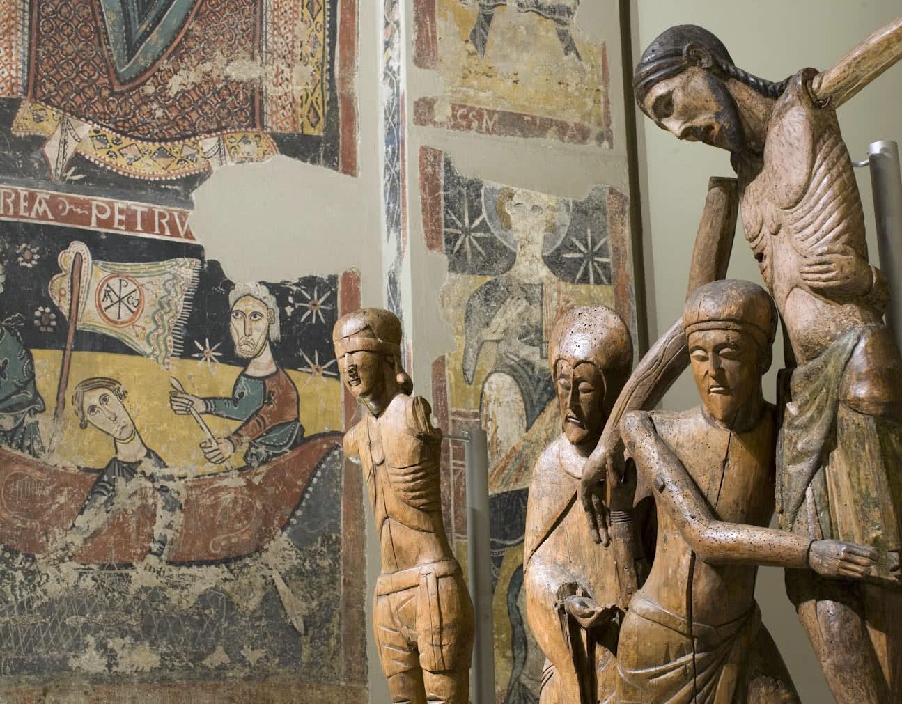 Crist del davallament de Santa Maria de Taüll, detall. Museu Nacional d'Art de Catalunya.
