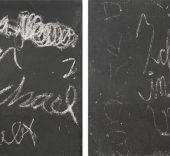 Darío Villalba. AMOR KRANKENHAUS/DUREN I-II, 1976. Técnica mixta sobre emulsión fotogràfica y tela. 175 x 175 cm c.u. Díptico.