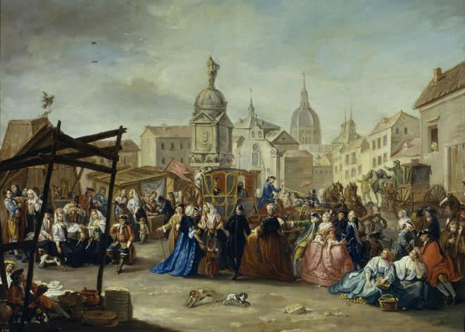Manuel de la Cruz y Cano. La feria de Madrid en la plaza de la Cebada. Museo de Historia de Madrid (Depósito del Museo Nacional del Prado).